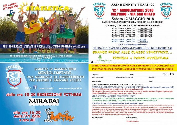 12ª Miniolimpiade – 12 Maggio 2018